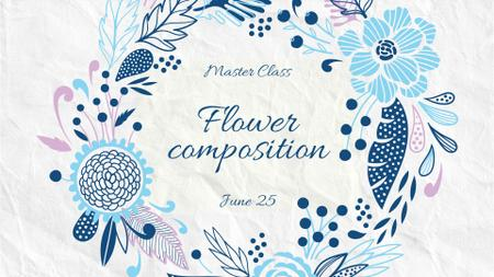 Florist Masterclass in Flowers Wreath in Blue FB event cover Modelo de Design