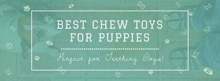 Plantilla de diseño de Pet Toys ad with cute Puppy Facebook cover