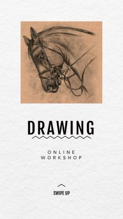 Template di design Charcoal Drawing of Horse Instagram Story