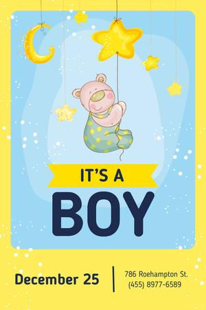 Template di design Baby Shower Invitation with Cute Teddy Bear Pinterest