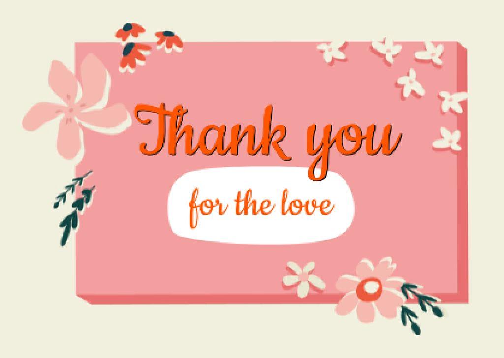 Thankful Phrase with Flowers Illustration Cardデザインテンプレート