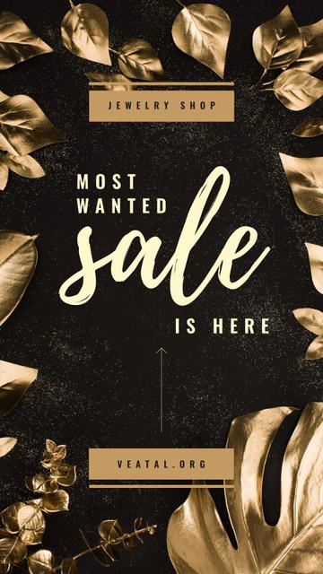 Szablon projektu Jewelry Store Sale Golden Leaves Frame Instagram Story