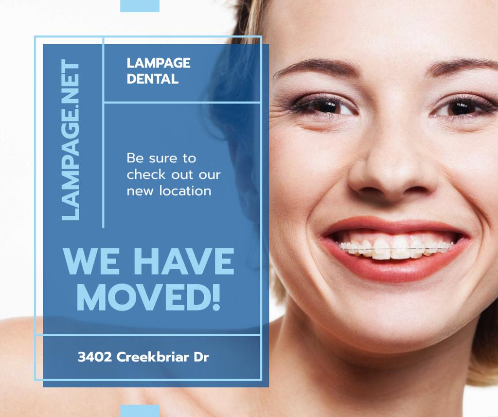 Dental Clinic promotion Woman in Braces smiling Facebook Tasarım Şablonu
