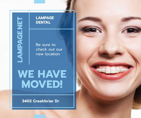 Designvorlage Dental Clinic promotion Woman in Braces smiling für Facebook