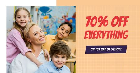 Back to School Offer with Woman and Children Facebook AD Modelo de Design