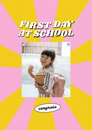 Back to School with Cute Pupil Girl with Backpack Poster – шаблон для дизайна