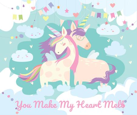 Plantilla de diseño de Loving magical Unicorns in Clouds Facebook