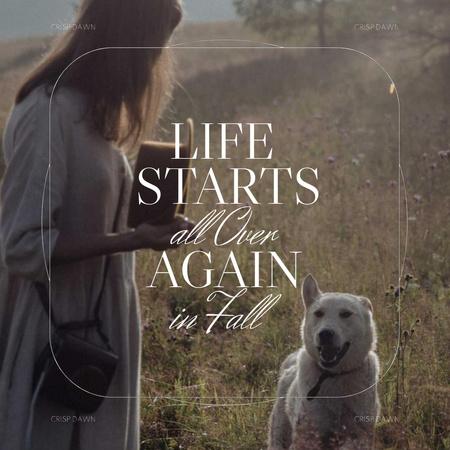 Autumn Inspiration with Woman walking with Happy Dog Animated Post – шаблон для дизайну