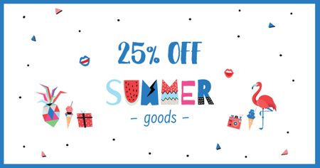 Summer Goods Discount Offer Facebook ADデザインテンプレート