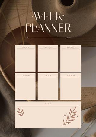 Week Planning with Leaves Illustration Schedule Planner Modelo de Design