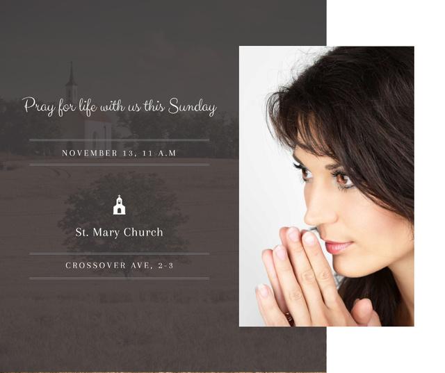 Ontwerpsjabloon van Facebook van Church invitation with Woman Praying