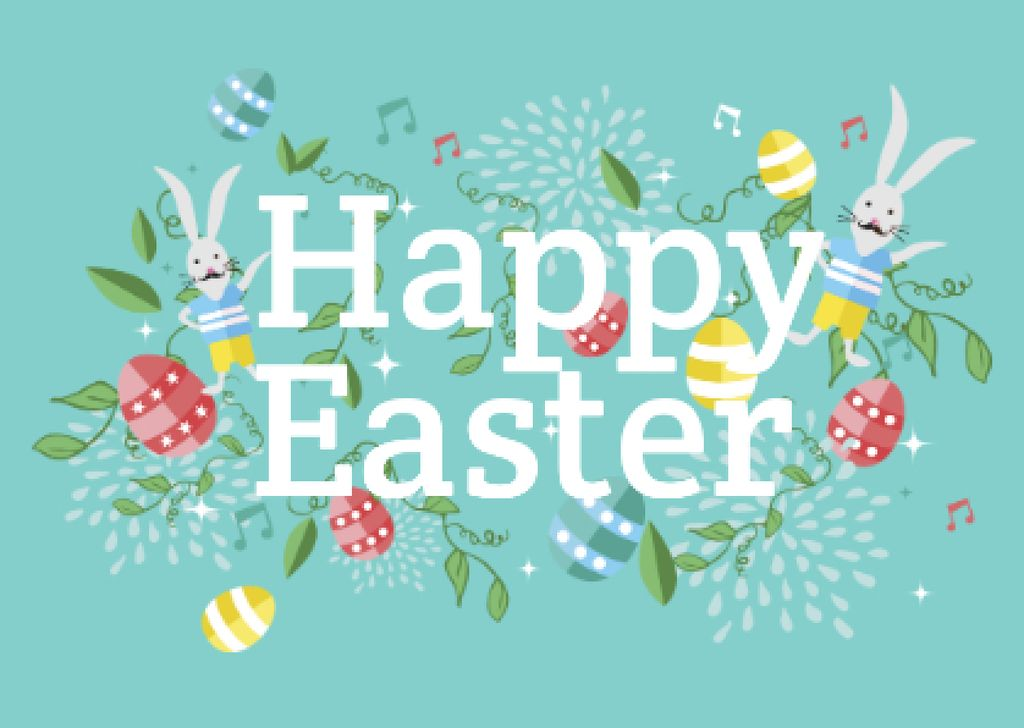 Happy Easter Greeting with Bunnies and Eggs Postcard Design Template