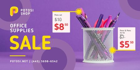 Office Supplies Sale with Stationery in Purple Twitter Design Template