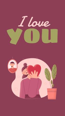 Plantilla de diseño de Love Phrase with Cute Girl holding Heart Instagram Video Story