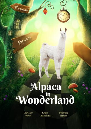 Funny Sale Promotion with Alpaca in Wonderland Poster Design Template