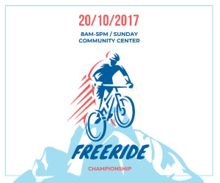 Ontwerpsjabloon van Medium Rectangle van Freeride Championship Announcement Cyclist in Mountains