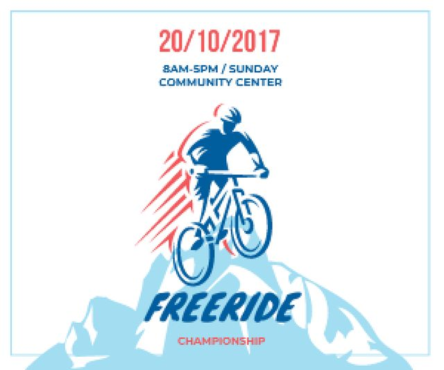 Freeride Championship Announcement Cyclist in Mountains Medium Rectangle – шаблон для дизайна