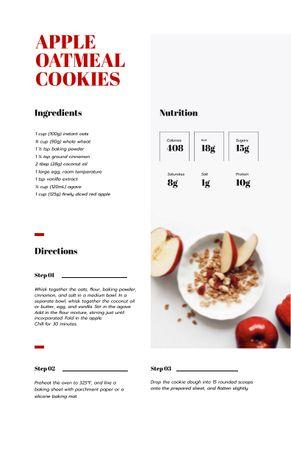 Ontwerpsjabloon van Recipe Card van Apple Oatmeal Cookies