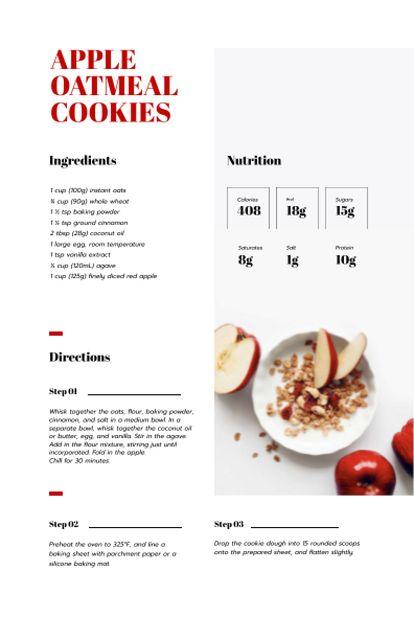 Plantilla de diseño de Apple Oatmeal Cookies Recipe Card
