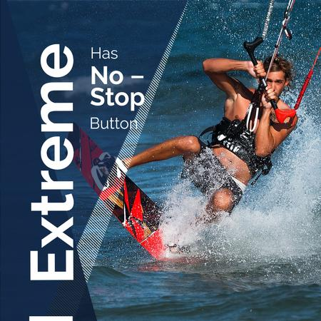 Extreme sports with Man on Water Skiing Instagramデザインテンプレート