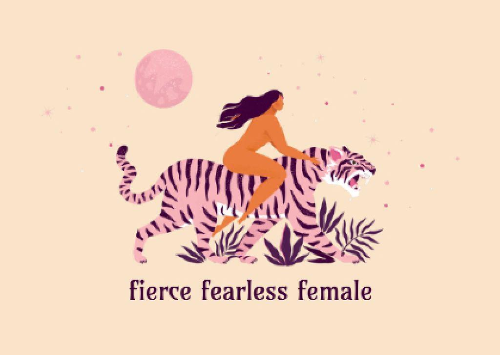 Girl Power Inspiration with Woman on Tiger Card Modelo de Design