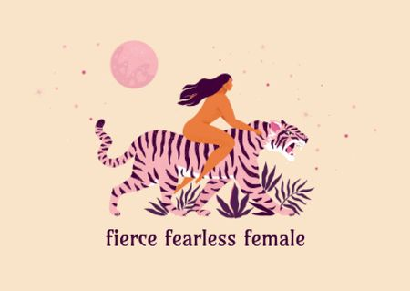 Girl Power Inspiration with Woman on Tiger Card Design Template