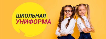 Back to School Offer Schoolgirls in Uniform Facebook cover – шаблон для дизайна