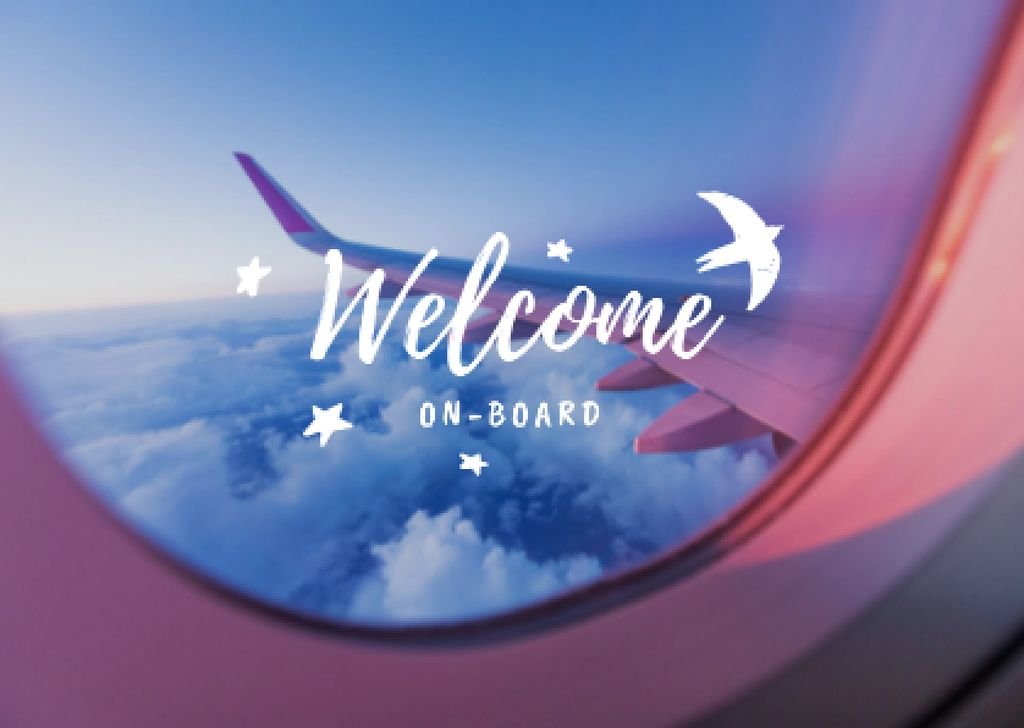 Travel Inspiration with Cloudscape in Plane Window Card – шаблон для дизайну