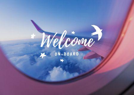 Designvorlage Travel Inspiration with Cloudscape in Plane Window für Card
