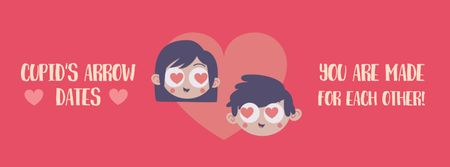 Plantilla de diseño de Valentine's Card with Tender Lovers Facebook Video cover