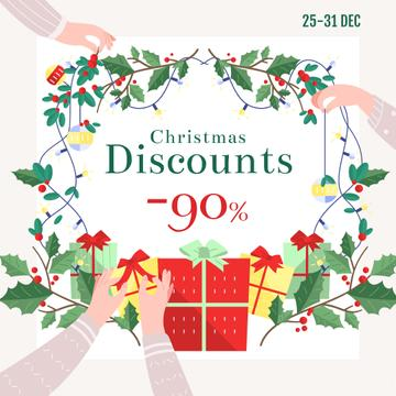 New Year Sale Gifts and Holly Wreath