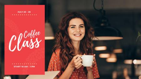 Designvorlage Woman holding coffee cup für FB event cover