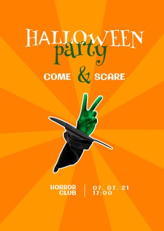 Halloween Party Announcement with Hat of Witch Invitation – шаблон для дизайна