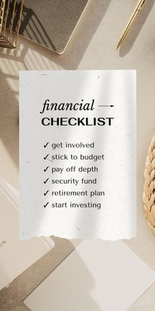 Financial Checklist on working table Graphic – шаблон для дизайну
