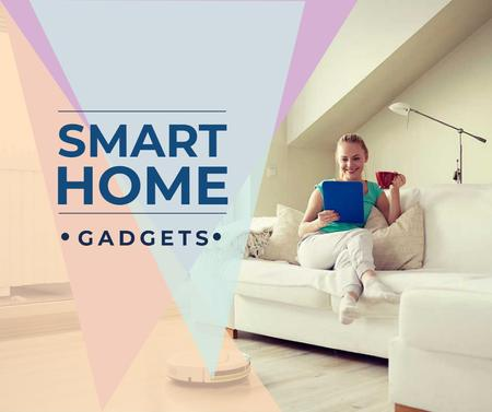 Ontwerpsjabloon van Facebook van Smart Home ad with Woman using Vacuum Cleaner