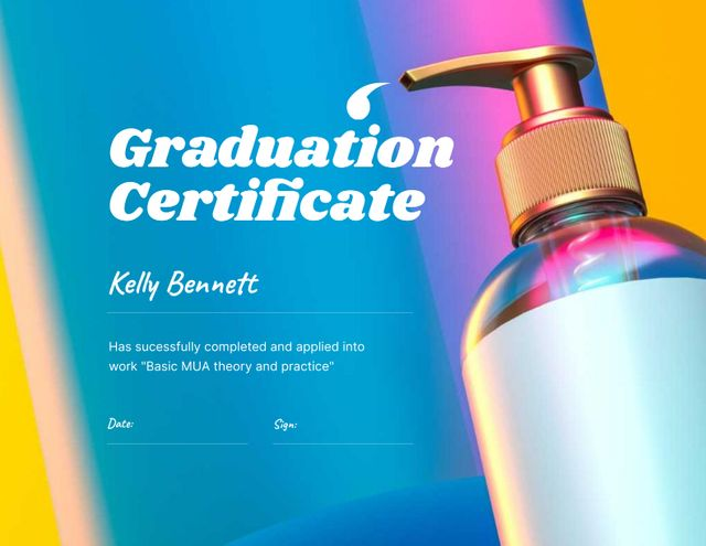 Beauty Course Completion Award with Cosmetic Product Certificate Design Template