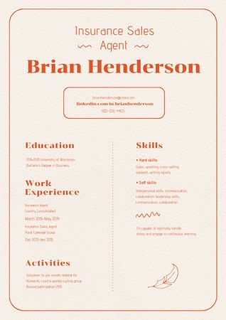 Plantilla de diseño de Insurance Sales Manager skills and experience Resume