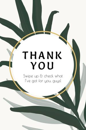 Thank You card with Tropical Leaves Pinterest Modelo de Design