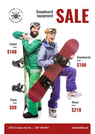 Snowboarding Equipment Sale People with Boards Poster – шаблон для дизайну