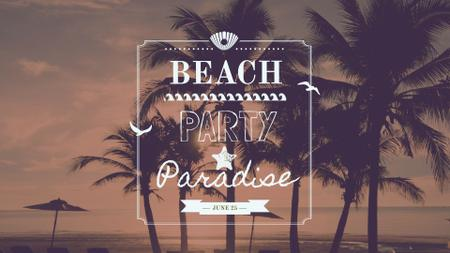 Plantilla de diseño de Summer Trip Offer Palm Trees at sunset FB event cover