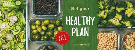 Template di design Healthy Food Concept with Vegetables and Legumes Facebook cover