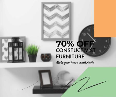 Furniture sale with Modern Interior decor Facebook Design Template