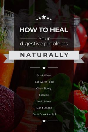 Plantilla de diseño de Healing digestive problems with Vegetables Pinterest