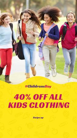 Plantilla de diseño de Children's Day Discount Offer with Happy Kids Instagram Story