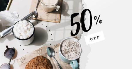 Cup of Coffee and Cookie for Breakfast Facebook AD – шаблон для дизайну