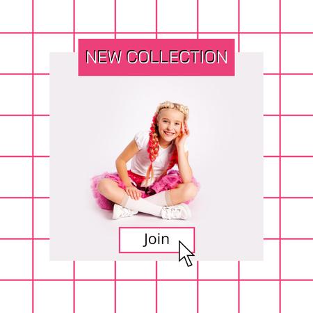 Plantilla de diseño de New Kids Collection Announcement with Stylish Little Girl Instagram