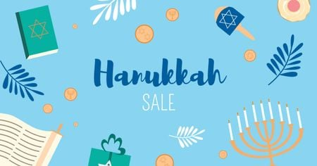 Hanukkah Sale Ad in Blue Facebook ADデザインテンプレート
