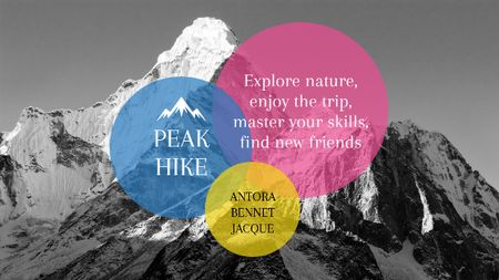 Plantilla de diseño de Hike Trip Announcement Scenic Mountains Peaks Title