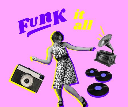 Funny Illustration of Dancing Girl and Gramophone Facebook Design Template
