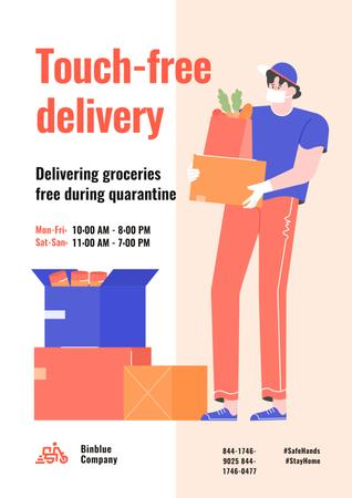 Plantilla de diseño de Touch-free Delivery Services offer with courier Poster